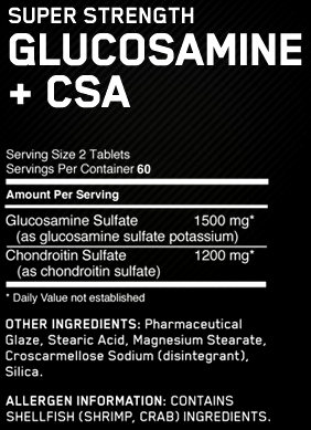 Состав Glucosamine plus CSA Super Strength