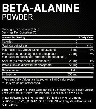 Состав Beta-Alanine Powder от Optimum Nutrition