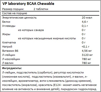 Состав BCAA chewable от Vplab