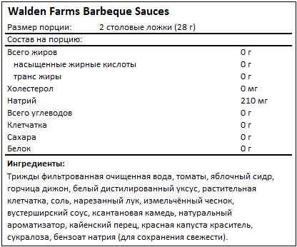Состав Barbeque Sauces от Walden Farms