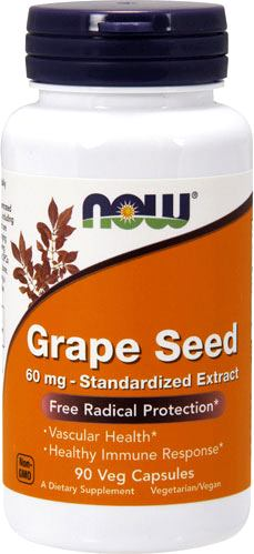 Антиоксиданты NOW Grape Seed 60mg