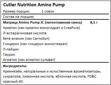 Состав Amino Pump от Cutler Nutrition