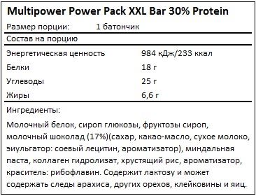 Состав Power Pack XXL Bar 30% Protein