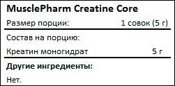 Состав MusclePharm Creatine Core Series