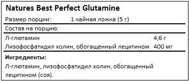 Состав Perfect L-Glutamine от Natures Best