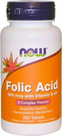 Комплекс витаминов группы В Folic Acid 800mcg with Vitamin B12 от NOW