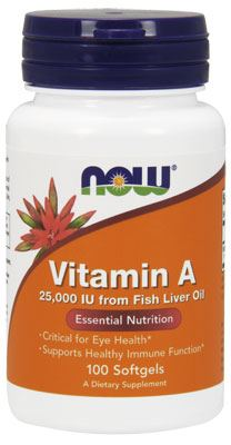 Витамин А Vitamin A 25000IU from Fish Liver Oil от NOW