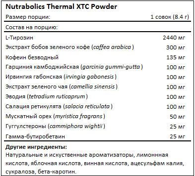 Состав Thermal XTC Powder от Nutrabolics