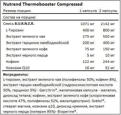 Состав Thermobooster Compressed от Nutrend