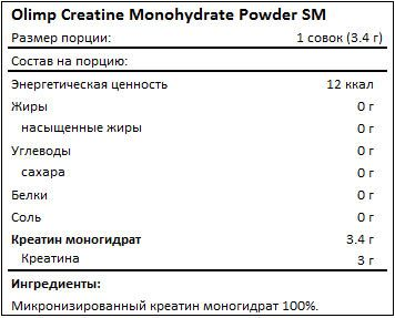 Состав Olimp Creatine Monohydrate Powder SM