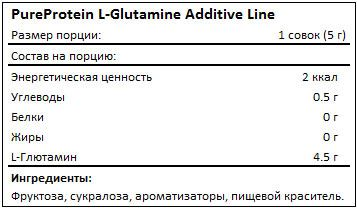 Состав L-Glutamine Additive Line от PureProtein
