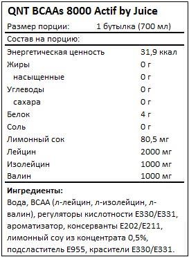 Состав BCAAs 8000 Actif by Juice от QNT