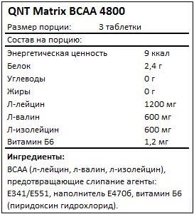 Состав Matrix BCAA 4800 от QNT