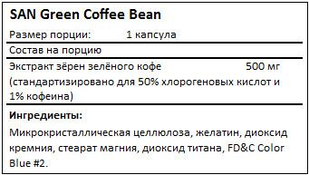 Состав Green Coffee Bean от SAN