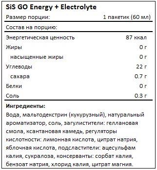 Состав GO Energy + Electrolyte Gel от SiS