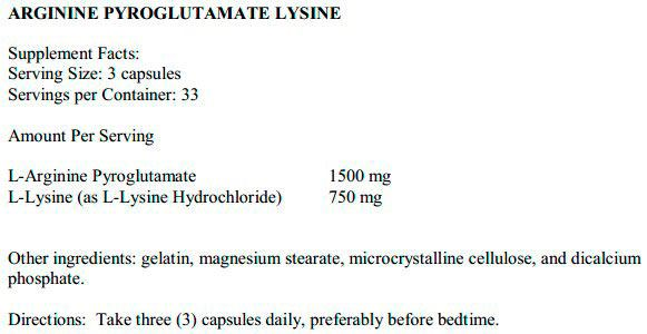 Состав Arginine Pyroglutamat Lysine от Ultimate Nutrition