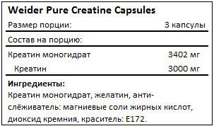Состав Weider Pure Creatine 200 caps