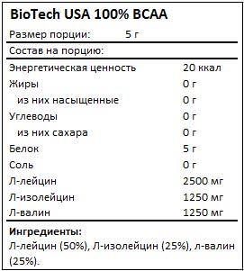 Состав 100% BCAA от BioTech USA