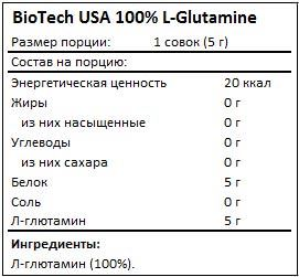 Состав 100% L-Glutamine от BioTech USA