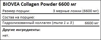 Состав BIOVEA Collagen Powder 6600 мг