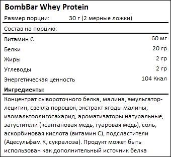 Состав BombBar Whey Protein