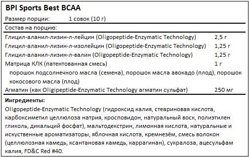 Состав Best BCAA от BPI Sports