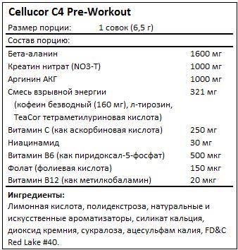 Состав C4 Pre-Workout от Cellucor