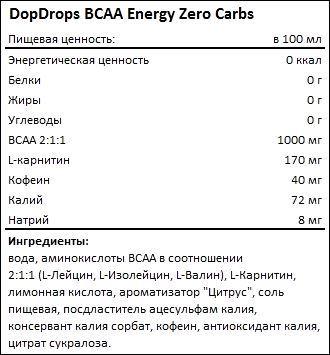 Состав DopDrops BCAA Energy Zero Carbs