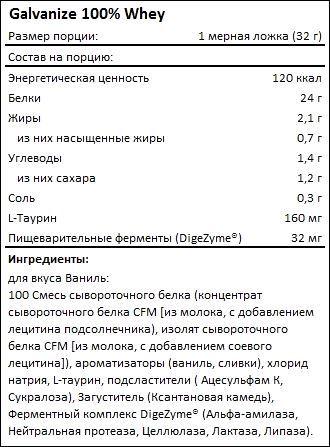 Состав Galvanize 100 Whey