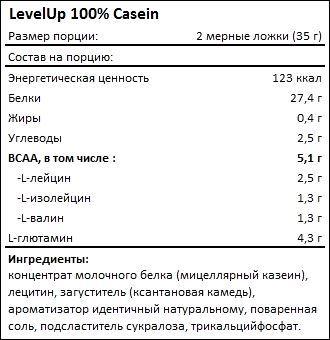 Состав LevelUp 100 Casein