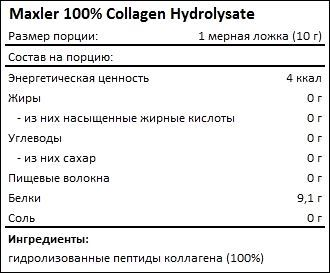 Состав Maxler 100% Collagen Hydrolysate