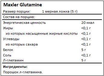 Состав Glutamine от Maxler