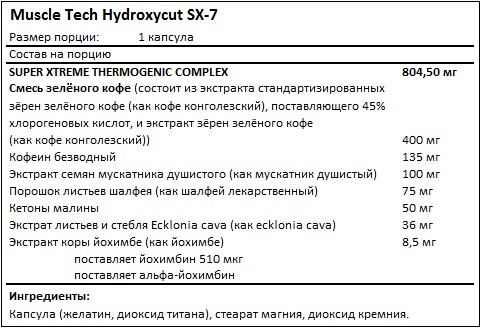 Состав Hydroxycut SX-7 от MuscleTech