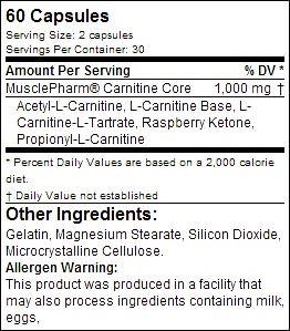 Состав Carnitine Core Caps от MusclePharm
