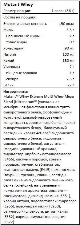 Состав протеина Mutant Whey