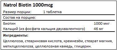 Состав Biotin от Natrol