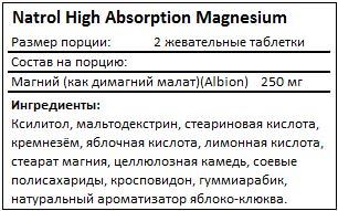 Состав High Absorption Magnesium от Natrol