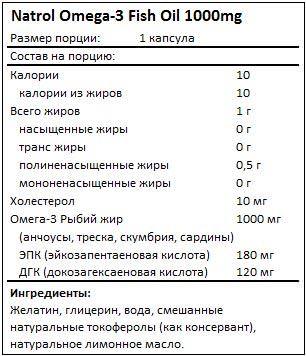 Состав Omega-3 Fish Oil от Natrol