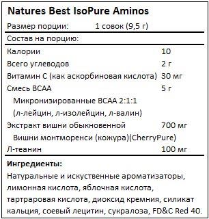 Состав IsoPure Aminos от Natures Best