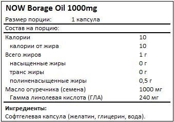 Состав Borage Oil 1000mg от NOW