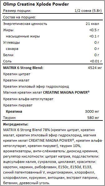 Состав Olimp Creatine Xplode