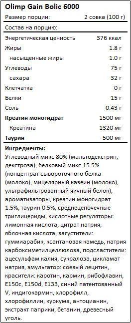 Состав Gain Bolic 6000
