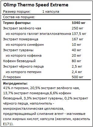 Состав Thermo Speed Extreme от Olimp