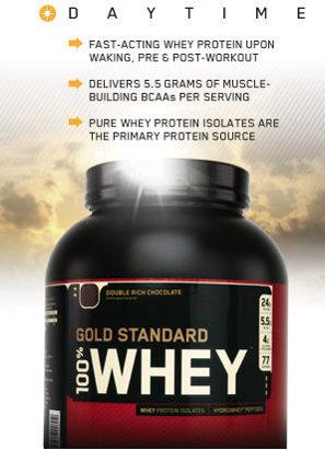 Gold Standard 100% Whey - быстрое усвоение: прием утром после пробуждения, перед тренировкой и после