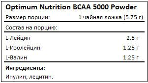 Состав BCAA 5000 Powder