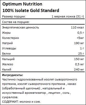 Состав Optimum Nutrition 100 Isolate Gold Standard