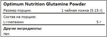 Состав Optimum Nutrition Glutamine Powder