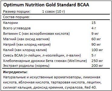 Состав BCAA Gold Standard от Optimum Nutrition