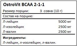 Состав BCAA 2-1-1 от OstroVit