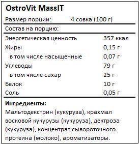 Состав MassIT от OstroVit